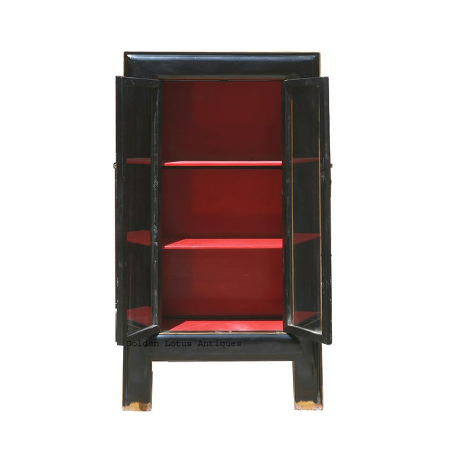 Black Red Lacquer Glass Door Display Bookcase