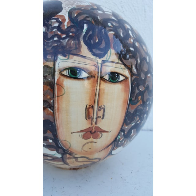 Vintage Hand-Painted Face Ceramic Vase For Sale - Image 4 of 10