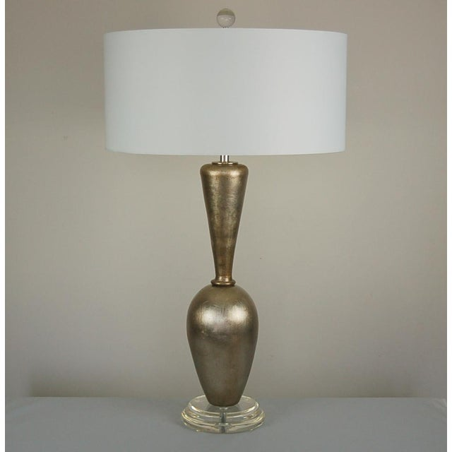 Silver Plaster Table Lamps by Swank Champagne For Sale - Image 8 of 9