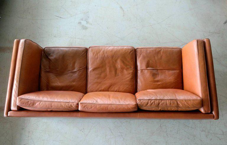 Børge Mogensen Style Danish Three Seat Leather Sofa In Patinated Cognac  Leather For Sale In