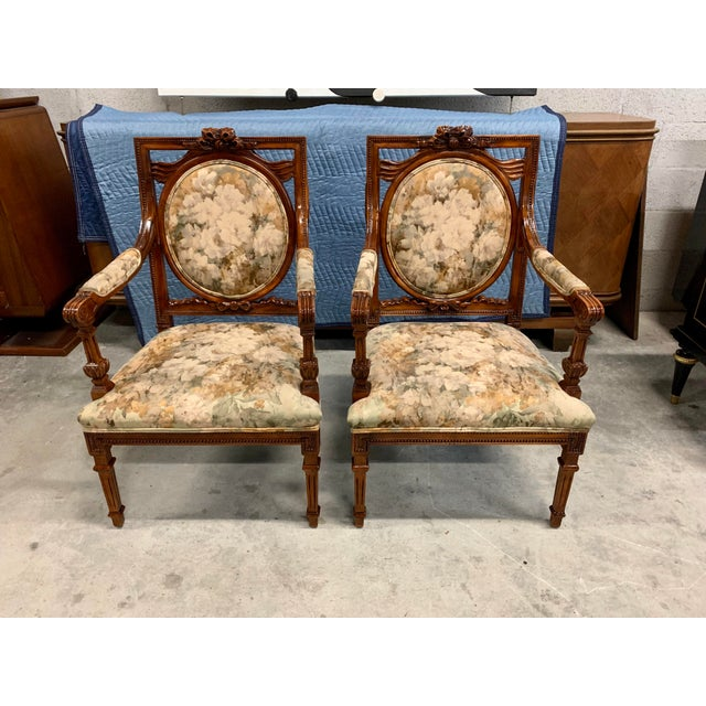 1920s 1920s Vintage French Louis XVI Solid Mahogany Accent Chairs or Bergère Chairs - a Pair For Sale - Image 5 of 13