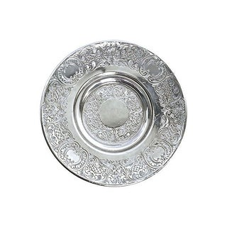 Antique Engraved Sterling Silver Saucer For Sale
