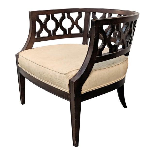 1970s Vintage Hollywood Regency Lattice Barrel Back Lounge Chair For Sale