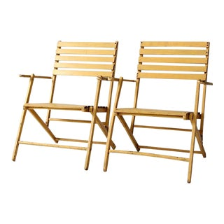 Mid-Century Slat Wood Folding Deck Chairs - a Pair For Sale