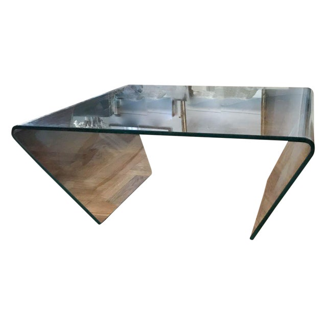 Mid Century Clear Glass Waterfall Cocktail Table By Angelo