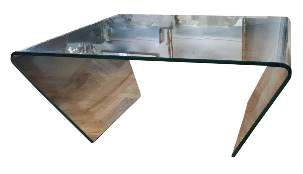 Bon Mid Century Clear Glass Waterfall Cocktail Table By Angelo Cortesi For Fiam  Italia
