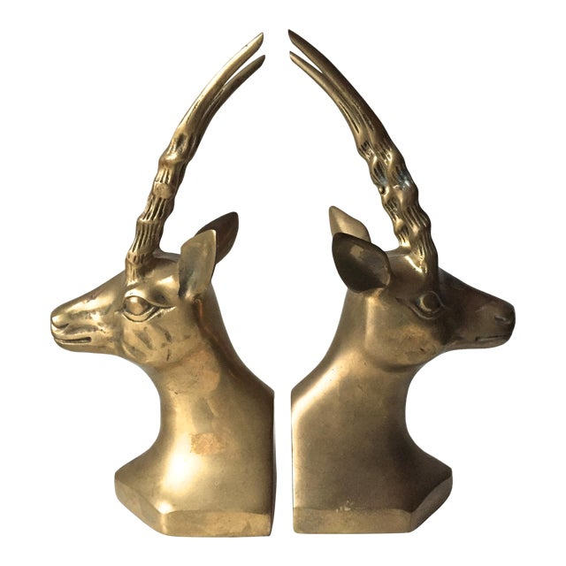 Vintage Large Brass African Deer Bookends - a Pair - Image 1 of 6