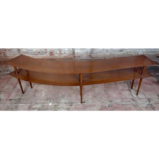 Danish Modern 1960s Mid-Century Modern Walnut Two Tier Curvy Console For Sale - Image 3 of 12