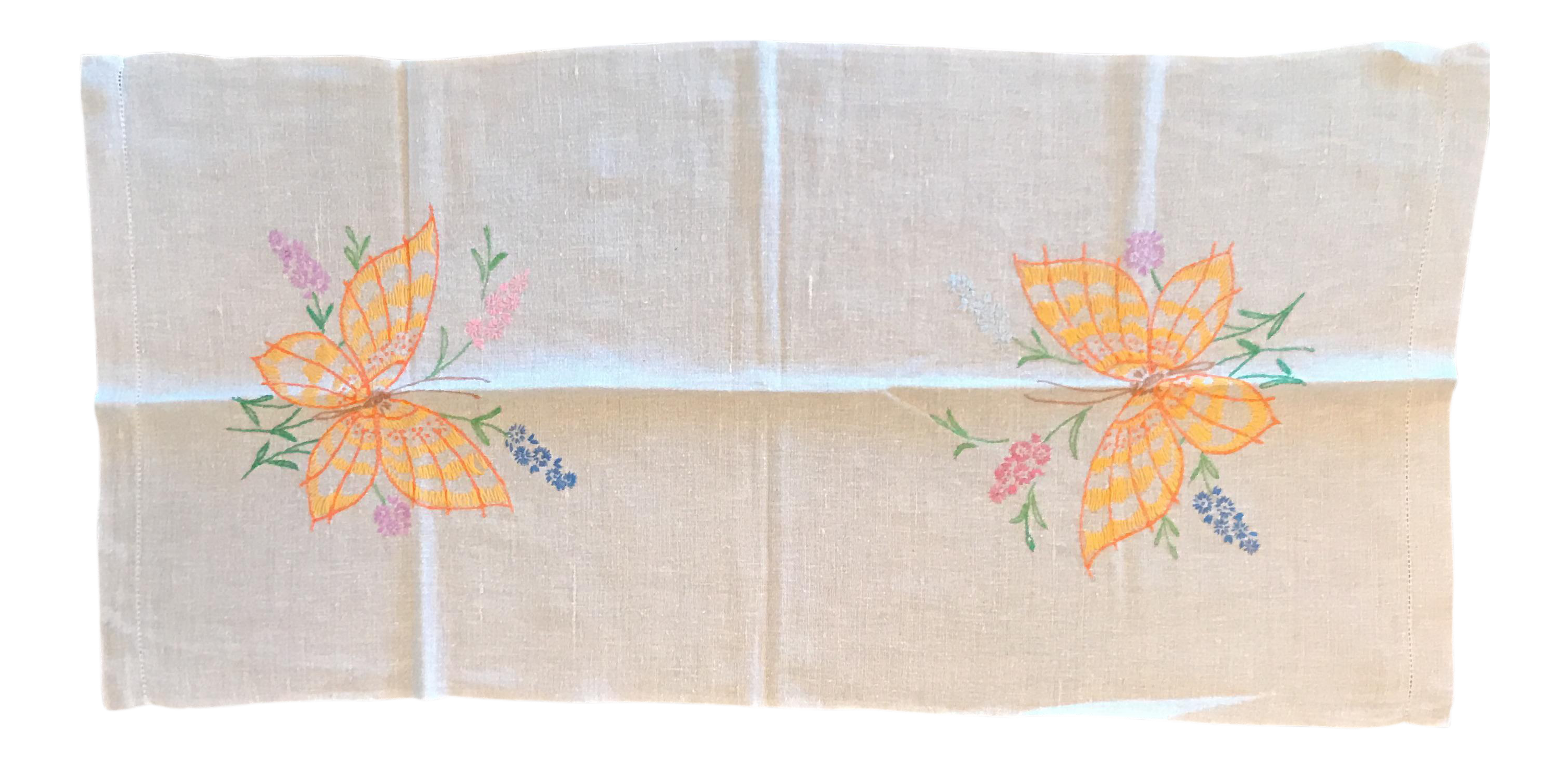 Mid Century Modern Tan Linen Table Runner   Image 1 Of 4