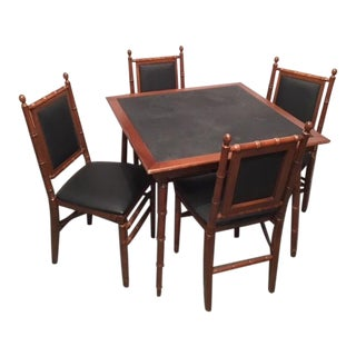 Stakmore Polynesian Style Black Wood Bamboo Folding Card Game Table & Chairs Set For Sale