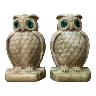 Vintage Resin Owl Bookends - a Pair For Sale