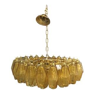 Amber Murano Glass With Gold 24k Frame Sputnik Chandelier For Sale