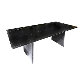 Mary Fox Linton Dining Table in Black Marquina Marble For Sale