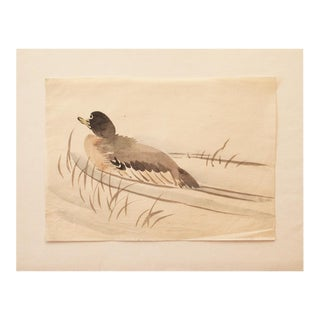 19th Century Meiji Era Japanese Duck Watercolor Painting For Sale