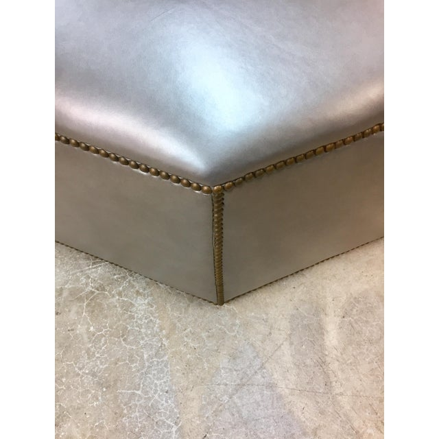 Traditional Century Furniture Cole Leather Ottoman For Sale - Image 3 of 5