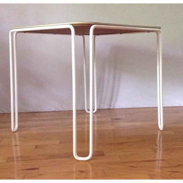Vintage Mid-Century Card Dinette Table Powder-Coat Hairpin Legs Off White Formica Top For Sale - Image 4 of 11