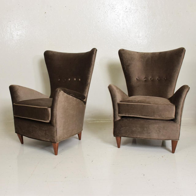 Textile Mid Century Modern Pair of Arm Chairs by Gio Ponti for Bristol Hotel in Merano Italy For Sale - Image 7 of 12