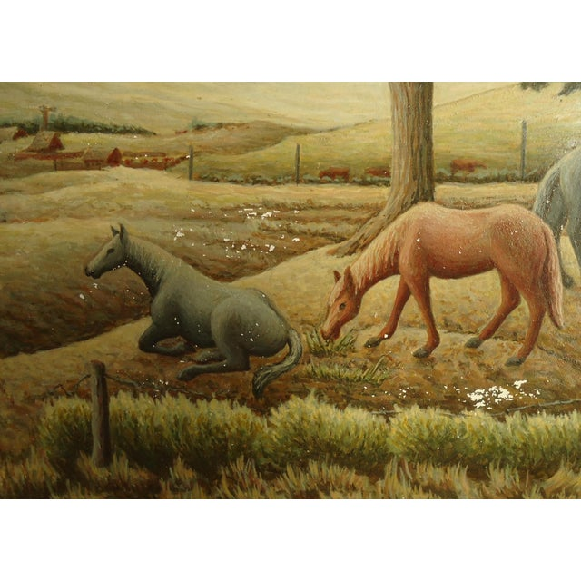 Blue 1952 Aaron Pyle Landscape With Horses Regionalist Painting For Sale - Image 8 of 11