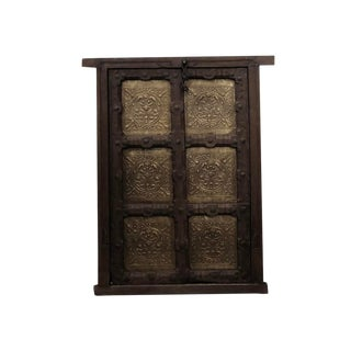 Early 20th Century Antique Indian Brass Jharokha Teak Panel For Sale