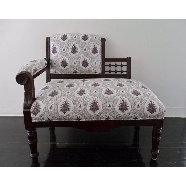 Vintage Eastlake Style Settee Upholstered in Tilton Fenwick Fabric - Image 8 of 8