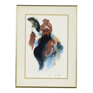 "Chinese Artist Wang Lan Limited Edition Signed & Numbered Lithograph Entitled ""Black Beard"" For Sale"