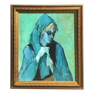 Picassoesque Portrait in Blue Painting For Sale