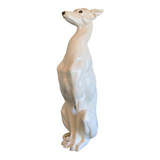 Vintage Italian Ceramic Life Sized Whippet Greyhound Dog Statue For Sale