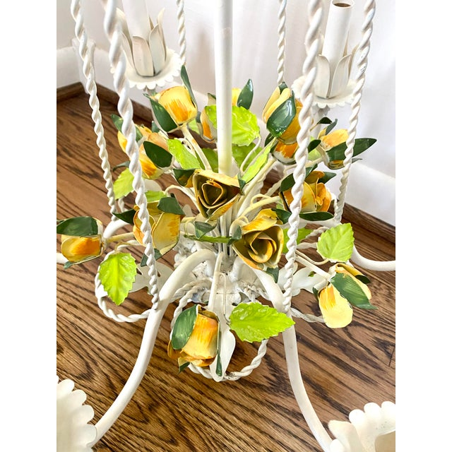 French Country Vintage Mid 20th Century 6 Arm Tole Chandelier For Sale - Image 3 of 8