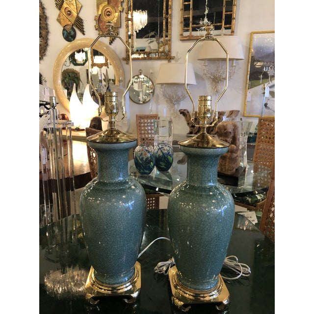 Vintage Hollywood Regency Pagoda Teal Green Crackle Glaze & Brass Table Lamps -A Pair For Sale - Image 13 of 13