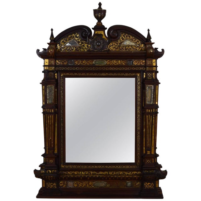 Italian Rosewood and Brass Decorated Wall Mirror For Sale