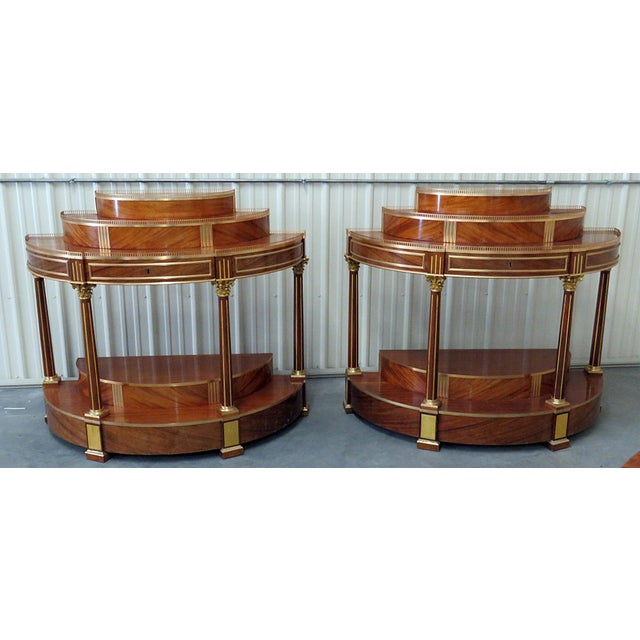 Gold Pair of Russian Regency Style Demilune Consoles For Sale - Image 8 of 8