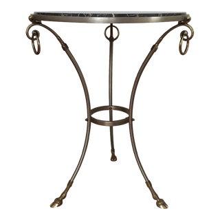 Marble Top Steel & Brass Gueridon Table