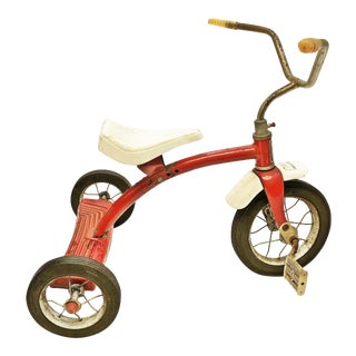 Vintage Rustic Red Metal Tricycle