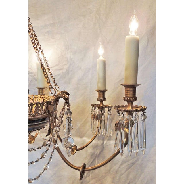 Late 19th C French Empire Bronze and Crystal Chandelier For Sale - Image 9 of 10