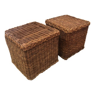 Vintage Tropical Boho Palm Beach Braided Wicker Rattan Stools / Side Tables - a Pair For Sale