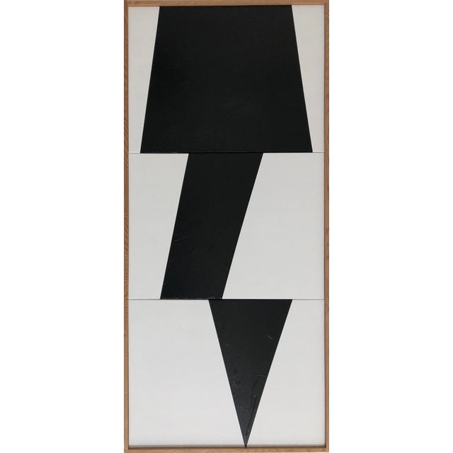"""2010s Original Acrylic Painting """"Black Jagged Triptych Jet0595"""" For Sale - Image 5 of 5"""