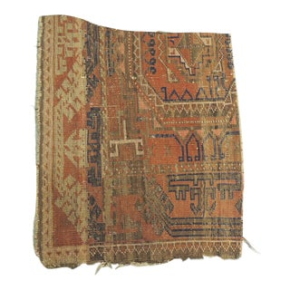 Antique Orange and Blue Persian Rug Fragment For Sale