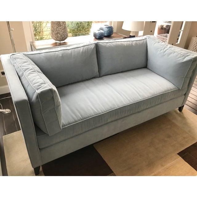 Contemporary Modern Sky Blue Tuxedo Sofa For Sale - Image 3 of 6