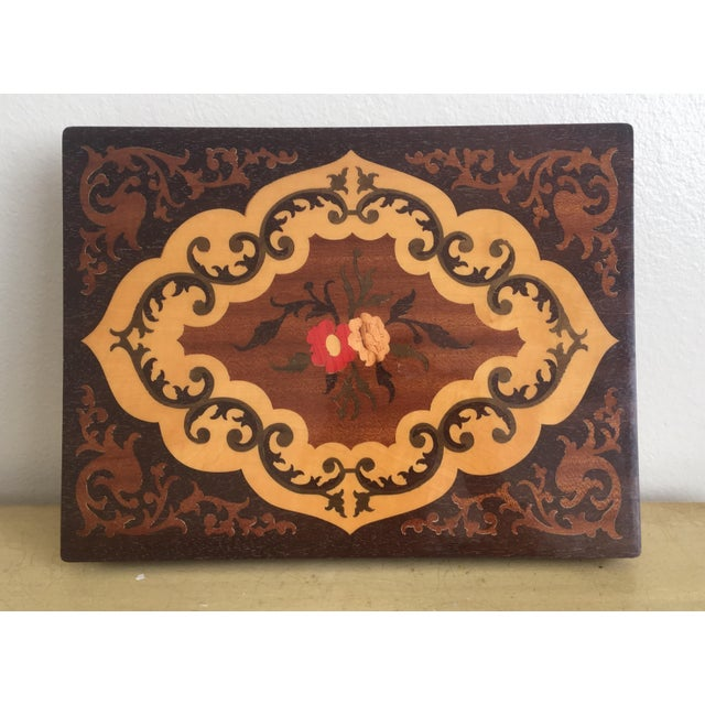 Large Italian Inlaid Wood Jewelry Box Vintage - Image 4 of 11