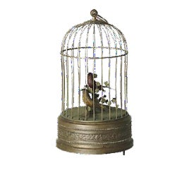 Antique Brass Bird & Cage Automaton For Sale
