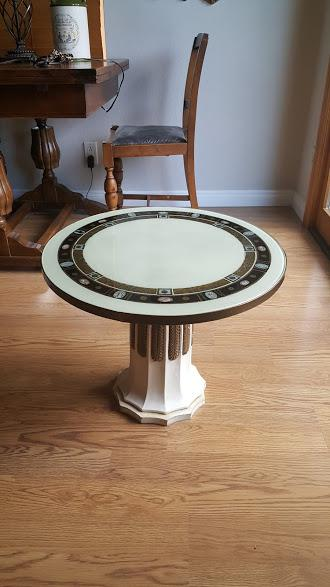 Elegant Hollywood Regency Cocktail Table With A Beautiful Painted Glass  Above White Pedestal Column. Trimmed