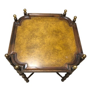 1950s Chinese Chippendale Brass and Bamboo Side Table For Sale