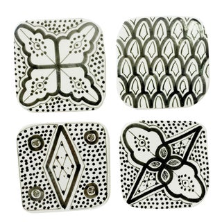 Moroccan Porcelain Coasters, Set of 4 Black For Sale