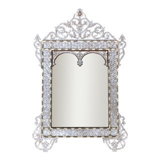 White Moorish Style Mother of Pearl Inlaid Mirror For Sale