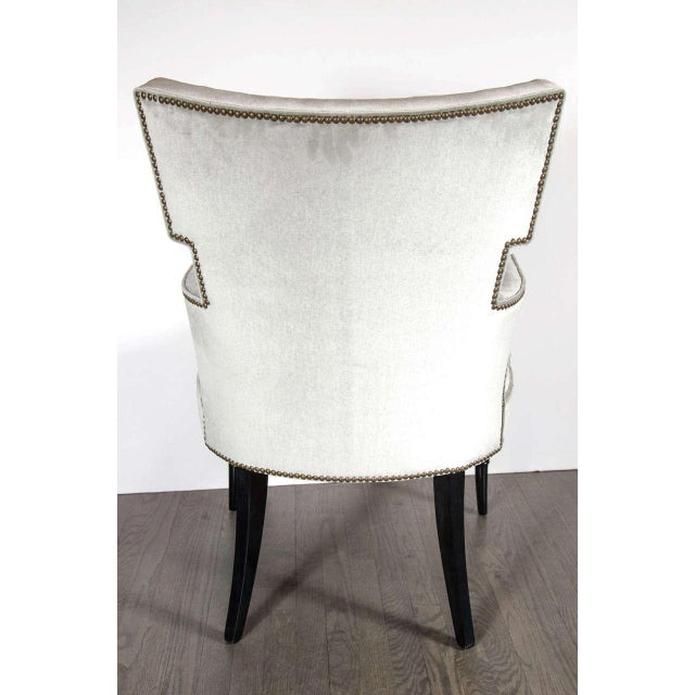 Metal Pair of Mid-Century Modernist Tufted Klismos Chairs with Stylized Bamboo Legs For Sale - Image 7 of 8