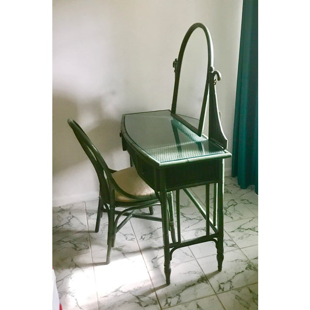 Lane Furniture Co. Rattan Cheval Mirrored Vanity Dressing Table & Chair Set - Image 3 of 11