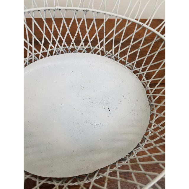 Shabby Chic 1950s French Style White Oval Wireware Cachepot With Liner For Sale - Image 3 of 5