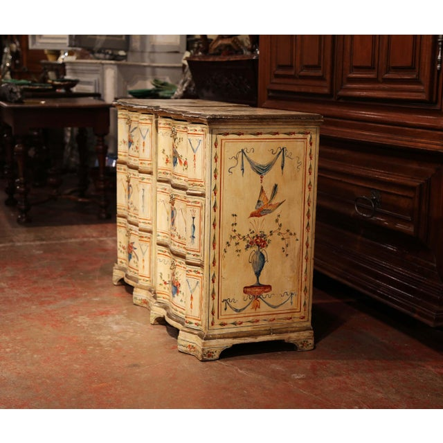 19th Century Italian Carved Chests of Drawers With Bird Painted Decor - a Pair For Sale - Image 9 of 13