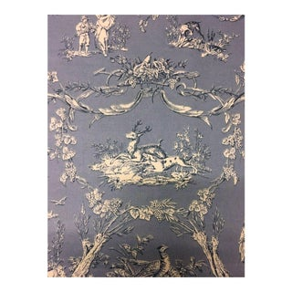 Thibaut Paysannerie Toile Wedgewood Blue Cotton Multi-Purpose Fabric - 3.5 Yards For Sale