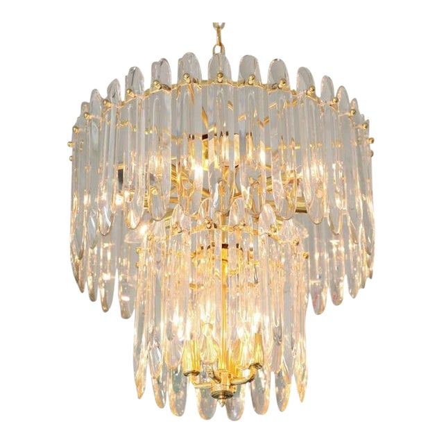 """Two-Tiered """"Knife-Blade"""" Crystal Chandelier by Gaetano Sciolari For Sale"""